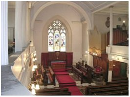 Picture of the interior of St Margaret's in 2008 showing the organ of 1877