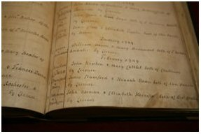 Picture of The marriages register showing – fourth from bottom – the entry for John Newton and Mary Catlett.